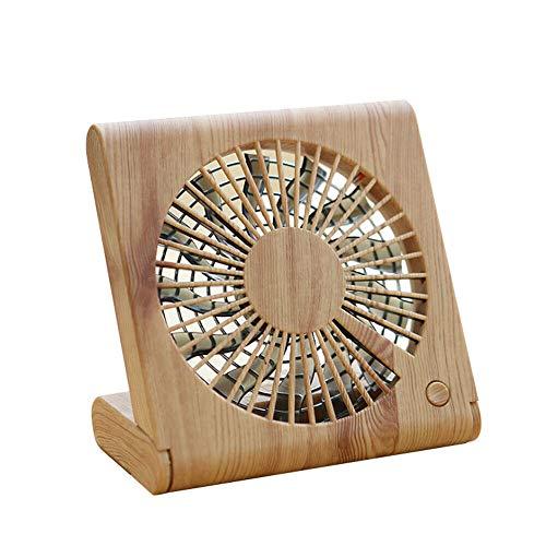 Moonuy Tischventilator Holzmaserung Tischventilator Portable Mini Silent Charging Elektrische Lüfter mit USB-Datenkabel