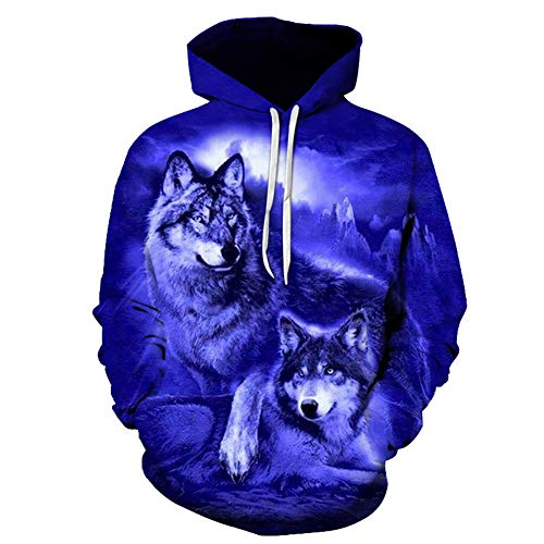 JIA-xUE Men ' S Hood Sweatshirt, Plus Size Sports Long Sleeve Casual Comfortable Loose Hoodie-3D Wolf Print Hooded Blue 4XL Fall Winter with Pockets,Blue,L