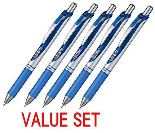 Pentel EnerGel Deluxe RTX Retractable Liquid Gel Pen,0.7mm, Fine Line, Metal Tip, Blue Ink-Value set of 5 (With Our Shop Original Product Description) by Pentel