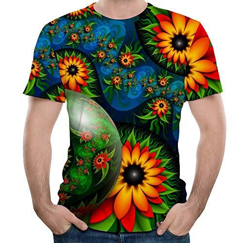 Xmiral T-Shirt Hemd Herren Kurzärmlig Rundkragen Chrysantheme Gedruckte Slim Fit Tops Baumwollmischung Hemde Lose Geschäft Bluse(Gelb,3XL) Weiße Rose Swag