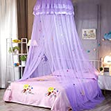 CLIUS Bed Even Bedding Sweet Kids Anti-Moskito Beheizte Runde Dome Sommer Cartoon Schlafzimmer Hängen Schlafen Mesh Lace Canopy(Lila)