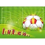 """12 Invitaciones en español """"FUTBOL"""": Juego de 12 invitaciones al futbol para cumpleaños infantil o fiesta de EDITION COLIBRI (10960 ES)"""