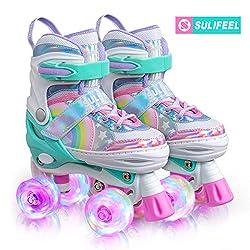 Sulifeel Ice Snow Verstellbar Rollschuhe für Kinder mit Leuchtenden Rädern Roller Skates für Mädchen - Small(28-31EU)