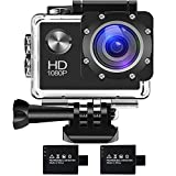 BUIEJDOG Action Cam Wi-Fi Ultra FHD 1080P Impermeabile 30M Immersione Sott'acqua Camera con Schermo 2 Pollici 16MP 170° Grandangolare 2 batterie e kit accessory inclusi