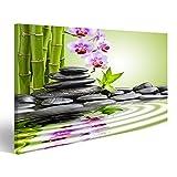 islandburner Bild Bilder auf Leinwand XXL Bild ! Direkt vom Hersteller ! Poster Leinwandbild Wandbilder Kunstdruck verschiedene Formate ! AYF Orchideen Wasser Steine Zen Bambus