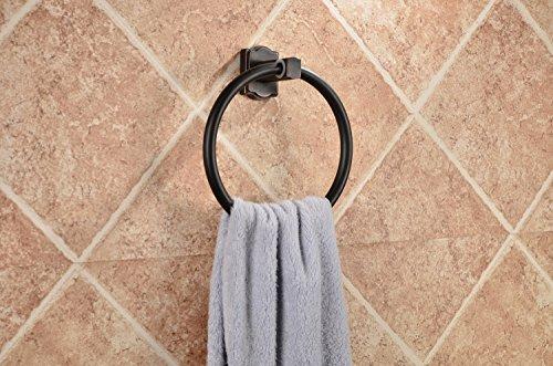 MangeooSchwarz Bronze, der europäischen Antike, alle Kupfer square Square kreisförmige Handtuchring, schwarz Handtuchhalter -