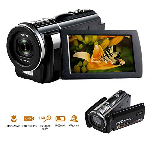 Videokamera 1080P 30FPS 24.0MP Camcorder Full HD Makro Fokussierung 3 Zoll Touchscreen 16fach Digitalzoom Digital Video Kamera HDMI Ausgang Vlogging Kamera für YouTube mit Fernbedienung - Kamera Camcorder