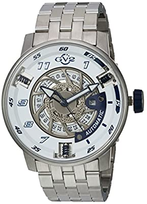 GV2 by Gevril Men's Analogue Automatic-self-Wind Watch with Stainless-Steel Strap 1301B
