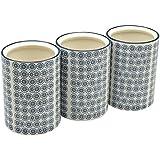 Pots à ustensiles de cuisine ornés de motifs - en porcelaine - imprimé fleur bleue - lot de 3