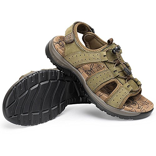Zhuhaitf Fashion Mens Soft Shoes Athletic & Outdoor Sandals Breathable Wear Shoes with Shoelace Olive