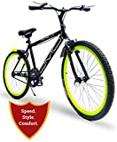 Omobikes Model-1.0 Hybrid City Cycle | Fast, Lightweight[13kg], Stylish with Alloy Rim| Anti Rust Frame| Green, Orange Rims