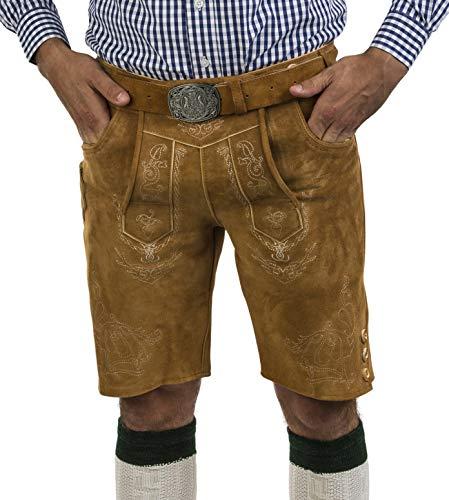 Herren Lederhose Wiesnjäger mit Trachtengürtel - Herren Trachtenlederhose Oktoberfest mit Gürtel - Trachtenhose kurz Gürtel (48, Wildeiche)
