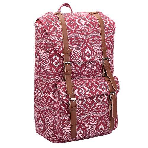 (Quenchy London QL916M Rucksack aus Segeltuch – 25 Liter mittelgroße Schul-Handgepäckgröße Rucksäcke – klassische Retreat-Tasche – 15 Farben – 45 cm x 30 cm x 19 cm Gr. M, Geometric Red)
