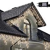 Lichterkette Eiszapfen 220 LED für Innen und Außen, warme weiße Baum Lichter, Länge 7.5m, GS Geprüft, Optional mit 8 Leuchtmodi/Memory/ Timer, Klare Kabel - 2 Jahre Garantie