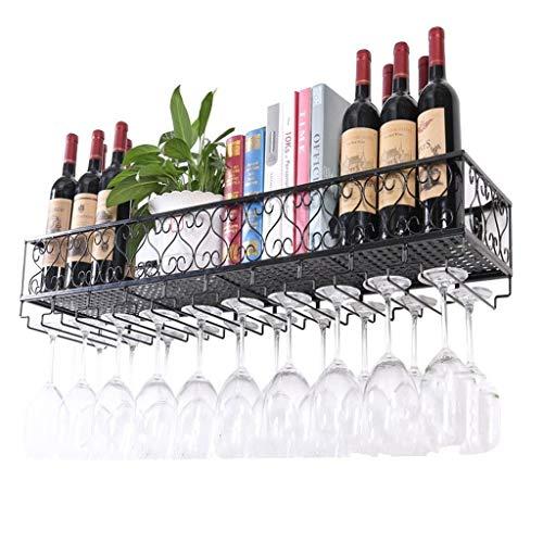Weinständer Bar-Accessoires Europäischen Stil Wandregal Metall Eisen Decke Rack Lagerung Weinregale Hängende Weinflasche und Gläser Halter Rahmen Wein Stemware Halter Becher Rack - schwarz