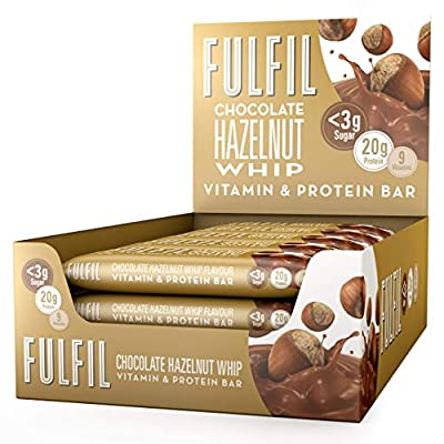 Fulfil Hazelnut Whip Vitamin and Protein Bar, 55 g, Pack of 15 from Fulfil