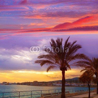 "Leinwand-Bild 100 x 100 cm: \""Palma de Mallorca sunset at port in Majorca\"", Bild auf Leinwand"
