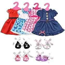 Ropa de Muñeca, Lance Home 4 Falda, 4 Zapatos y 4 Perchas para 18 Pulgadas Muñecas American Girl, Accesorios Ropa Vestido Falda
