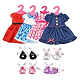 Doll Clothes, Lance Home 4sets Party Dress Summer Clothes Outfits Shoes For 18 inch American Girl (12Pcs)