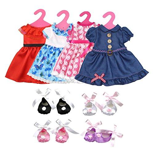 Lance Home 4 Abiti Vestito 4 Paia di Scarpe Grucce per 18 '' Bambole American Girl Accessori Regali per bambino (12pz)