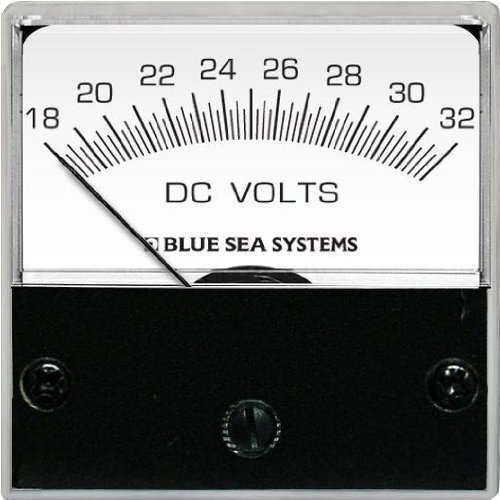 Blue Sea Systems 8243 DC Analog Micro Voltmeter (2-inch Face, 18 – 32 V DC) by ACR Electronics