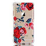 LUOLNH iPhone 5 Case,iPhone 5s Case with flowers, Slim Shockproof Clear Floral Pattern Soft Flexible TPU Back Cover for iPhone 5/ 5S /SE -Red Rose