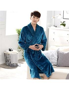 DDOQ Long-Type Franela Albornoz Pareja Albornoz Cálido Camisón Invierno Pijama-Azul (Color : Azul, Tamaño : XL)