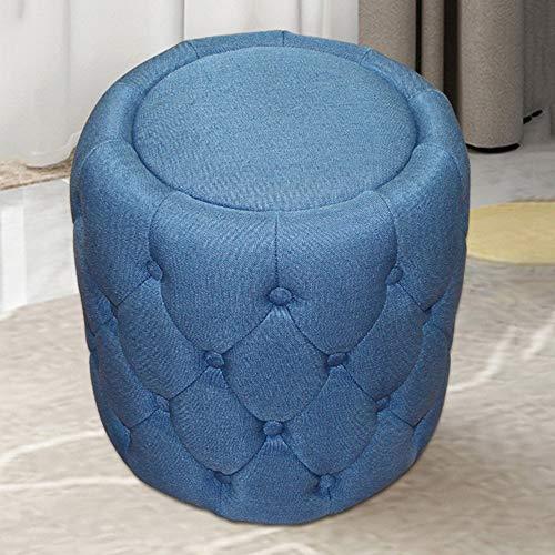 GLJ stool LJJL Stabile Bank, Hocker, europäischer Stoff, rund, 43 x 40 cm, Wohnzimmer, Sofa, Bank, Dressinghocker, Sofa blau