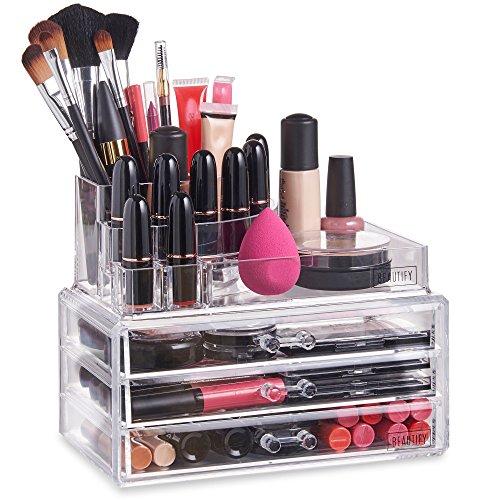 Beautify Présentoir Organisateur Maquillage – 11 compartiments et 3 tiroirs - Acrylique