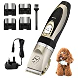 Professional Pet Grooming Clippers, OMorc Rechargeable Cordless Dog Grooming Clippers Kit Low Noise Electric Hair Trimming Clippers Set with 4 Comb Guides and Cleaning Brush for Small Medium Large Dogs Cats and Other Animals (Black and Gold)