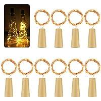 [10 unidades] 2 m 20 led luz botellas, botellas de vino luces alambre de cobre Luz Cadenas Estrella Luz con corcho para botella DIY, boda, fiesta, Halloween y romántica decoración (Blanco Cálido)