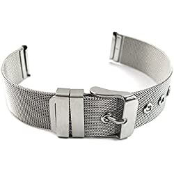 MapofBeauty The Art Of Steel Smaller Slimmer Stainless Steel Shark Mesh Milanese With Silver Buckle Watch Band -20mm