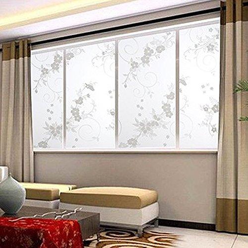 Preisvergleich Produktbild muxiao 45x100cm Frosted Privacy Cover Glas Gardenia Blume Aufkleber Kleber DIY Home