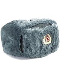 GFM en imitation fourrure Cosaque SOVIÉTIQUE style armée ouchanka (58cm) (LF) Star Marteau & Faucille–Badge Chapeau russe