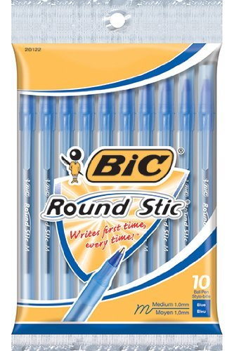 Round Stic Ballpoint Pen,Med. Point,10/PK,Blue Ink, Sold as 1 Package, 12 Each per Package