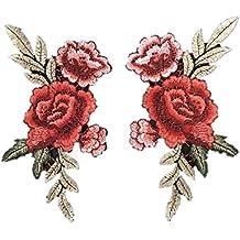 2x rosa bordado coser en parche insignia bordado de flores bolsa de cuello Busto vestido Applique