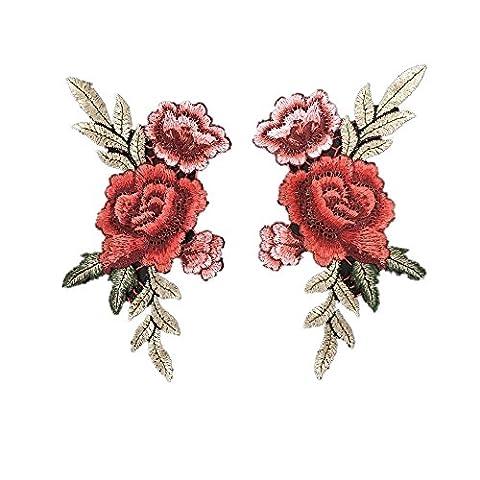 2x Broderie Fleur Rose Sew on Patch écusson brodé floral
