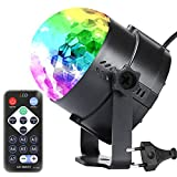 EUGO Luci da palco luci Discoteca Mini palla lampada magica fase luci a sfera di colore cristallo rotante sfera LED RGB effetto per il Festival Bar KTV Club Party Outdoor e più (con telecomando)