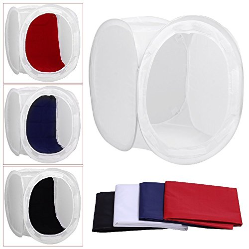 Digital Photo Cube (32inch/80x80 cm Photo Studio Shooting Tent Light Cube Diffusion Soft Box Kit with 4 Colors Backdrops (Red Dark Blue Black White) for Photography)