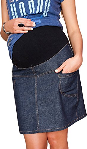 Mija - UmstandsRock mit Bauchband / sportlich Denim Jeans 9060 (38, Dunkelblau)