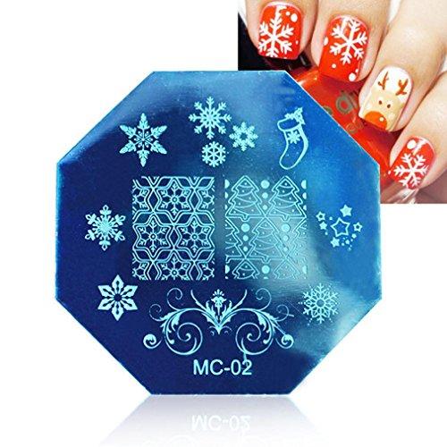 Internet Photo bricolage de Noël Stamp Plaques Stamping Modèle Manucure Nail Art Plate Bleu