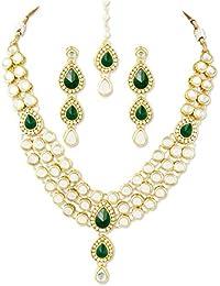 karatcart 22K Goldplated Green Stone Kundan Jewellery Set For Women