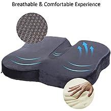 Cojin Ortopédico para Coxis de Espuma de Memoria, Travel Ease cojín de asiento para dolor de parte inferior de espalda y alivio de dolor de hueso de la cola sciático-adecuado para silla de oficina, asiento de auto, silla de rueda (Negro)