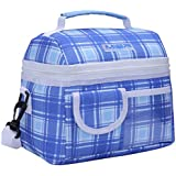 MIER Lunch Bag Insulated Cool Bag for Girls, Boys, Kids, Women, Men, with functional pockets, Blue Plaid