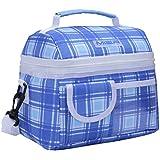 MIER Bolsa de almuerzo con aislamiento reutilizable refrigerador de la bolsa de asas de gran capacidad con correa para el hombro ajustable para Niños Niñas Hombres Mujeres, azul de la tela escocesa