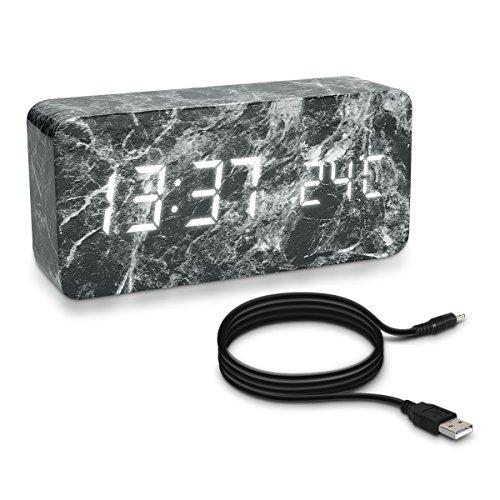kwmobile Wecker Uhr in Marmor-Optik Digital - Digitalwecker Anzeige von Uhrzeit Temperatur Datum -...