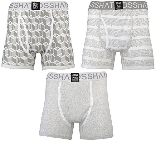CrossHatch Herren Boxershorts Causeway, 3er Pack Grey (Grey Marl)