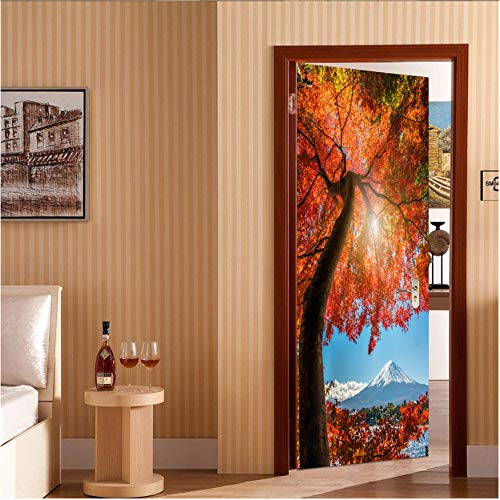 FREEZG 3D Effekt Herbst Ahorn Schnee Berglandschaft Tür Aufkleber Tapete PVC wasserdichte Wohnzimmer Schlafzimmer Home Decora -