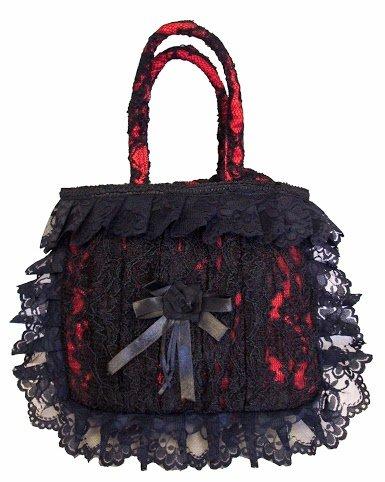 Dark Star Gothic Lace/Satin Handbag DS/BG/LACE Womens Prom Wedding Party Tote Drawstring Clutch (Handtasche Drawstring Satin)