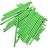 KRIWIN Green Paper Straws Pack of 100 7 3/4 inch & 8 mm Wide - Ideal for Drinking Cocktails, Mock-Tails, juices, Milkshakes and Craft Work( Green )